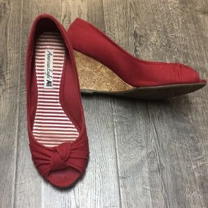 Red cork wedge Peep toe shoes